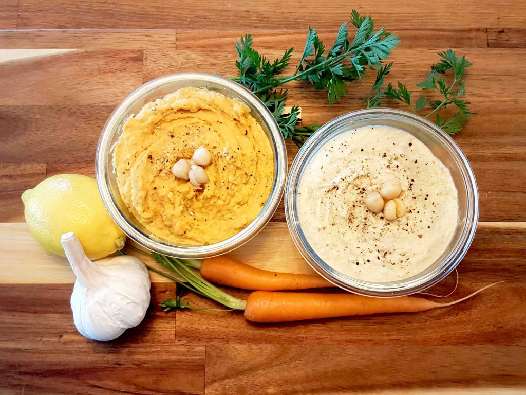 Homemade hummus two ways