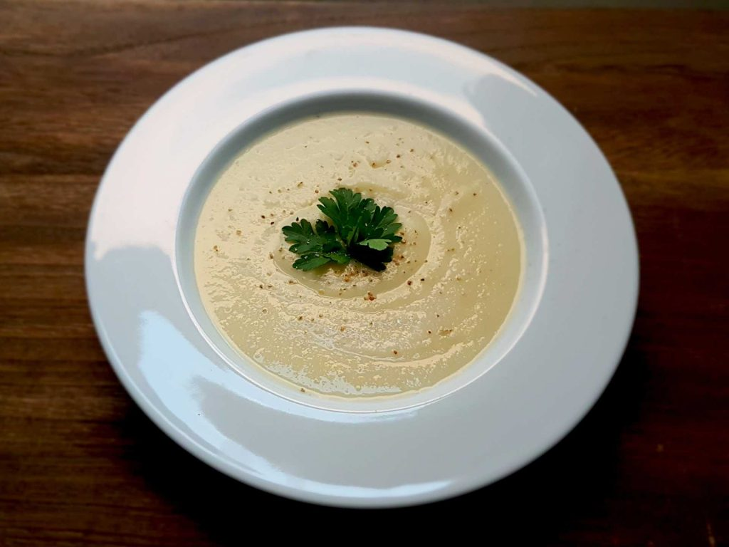 Creamy celery root soup